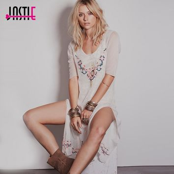 Jastie O-Neck Summer Beach Tunic Dress White Embroidered Mesh Sexy Tunic With Slid Boho Style Hippie Chic Vestidos (No Lining)