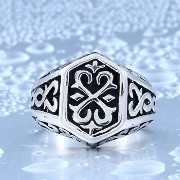 Beier new store 316L Stainless Steel ring top quality Gothic Pattern Jewelry Ring Silver LLBR8-215R US Size