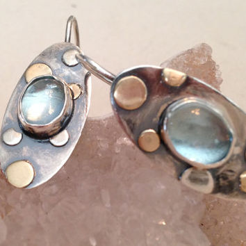 Gold, Silver and Aquamarine Gemstone Earrings  - 14K Gold, Sterling Metalwork