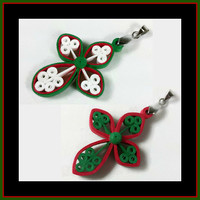 Christmas Cross Pendant Red Green - Christmas jewelry, religious jewelry, religious gifts, Christian jewelry, unique cross, paper quilling