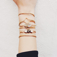 Hammered Brass Geometric Cuff