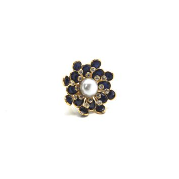 Tresor Collection - Blue Sapphire, White Sapphire and Pearl Flower Ring in 18k Yellow Gold