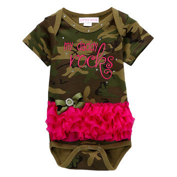 My Daddy Rocks Camo Bodysuit with Hot PInk Ruffles  FREE SHIPPING littledivaonline, camouflage Onesuit hot pink tutu