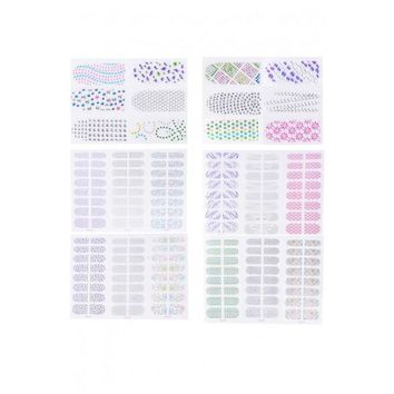 Practical 6 Sheets Fashion Nail Art DIY 3D Rhinestone Sticker Nail Decoration Decal