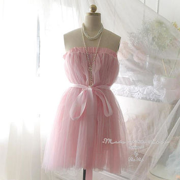 Pink Tutu Tulle Lace Skirt Pink Datin Sash belt Sweet Pastel Ballerina Puff Skirt Dress Beautiful Romantic Women's Fashion long petticoat