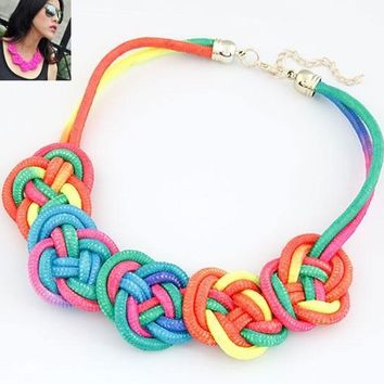 Fashion Pendant Choker Necklace For multicolor Creative Women Cotton Handwoven Rope Jewelry Charm Chinese Knot Necklace
