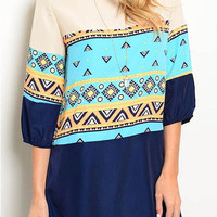 Geo Print 3/4 sleeve shift dress