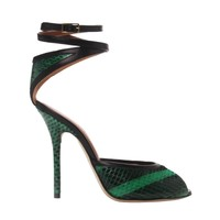 Malone Souliers Green Lolo Ankle Wrap Sandal - Shop Luxury Shoes | Editorialist