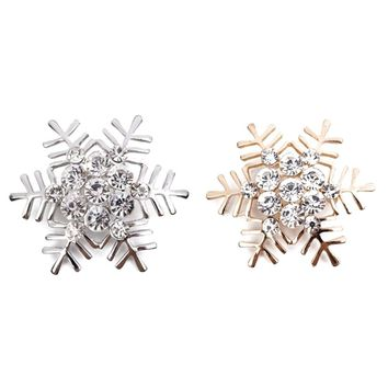 Beautiful Snowflake Winter Snow Crystal Rhinestone Wedding Bridal Brooch Pin For Xmas Christmas Silver Gold Color Brooches