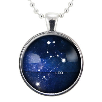 Leo Zodiac Necklace, Constellation Jewelry, Astrology Star Sign Pendant