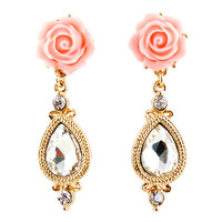 Pink Floral and Teardrop Earrings