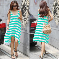 Stripe Loose Irregular Beach Women's Dress