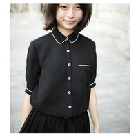 Black or Blue Chiffon Shirt with Peter Pan Collar C30, Japanese Fashion