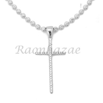 Sterling Silver .925 AAA Lab Diamond Bling Cross w/2.5mm Moon Cut Chain S054