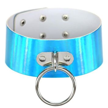 BLUE Rainbow PU Leather choker necklace gift for women Holographic Choker O Round Metal Chocker fashion jewelry
