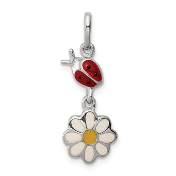 925 Sterling Silver Rhodium Plated Child Enamel Ladybug, Daisy Shaped Pendant