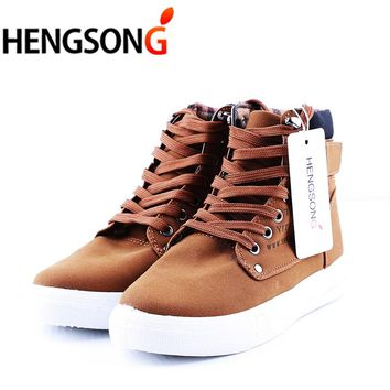 HENGSONG Brand Flat Heel Men's Walking Shoes Autumn Winter Ankle Boots Male Snow Boots British Style Men Canvas Sport Shoes