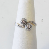 Vintage Antique 18k Yellow and White Gold .20ct Diamond Engagement Ring 1900's Victorian