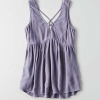 AEO Lace-Up Neck Tank , Blue