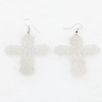Silver Cross Shape Cut Out Detail Earrings