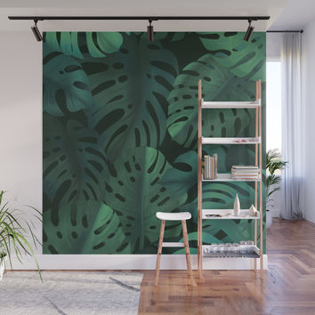 Monstera leaves Wall Mural by printapix