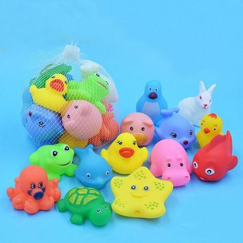 DCCKL72 13 Pcs Lovely Mixed Animals Swimming Water Toys Colorful Soft Rubber Float Squeeze Sound Squeaky Bathing Toy For Baby bath toys