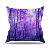 "Iris Lehnhardt ""Magic Woods"" Purple Forest Outdoor Throw Pillow"