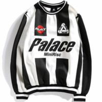 PALACE retro color matching men and women couple round neck pullover sweater F0821-1 white