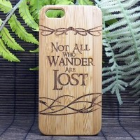 Not All Who Wander Are Lost iPhone 5 5S Case. Nomad Quote. Eco-Friendly Bamboo Wood Phone Cover