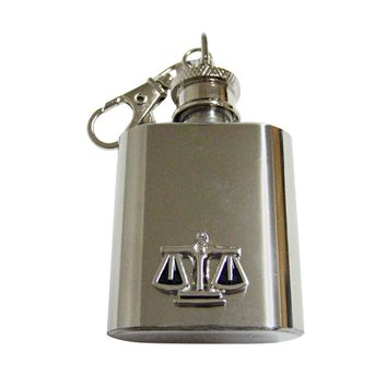 Black and Silver Toned Scale of Justice Law 1 Oz. Stainless Steel Key Chain Flask