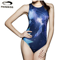 Star Printed Women One Piece Swimsuit Professional Sports Swimwear Racing Competition Female Bodysuit Quick Dry Bathing Suit