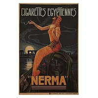 EGYPTIAN CIGARETTES NERMA vintage ad poster G Camps France 1924 24X36 HOT