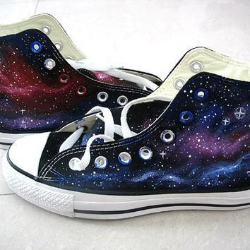 Galaxy Converse Sneakers, Purple and Blue Galaxy Shoes, Hand Paint Converse Galaxy Ins