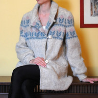 Vintage Icelandic Virgin Wool Jacket Cream Blue Pink Button Up Pockets Lined Winter Coat Women Nordic Sweater Alafoss