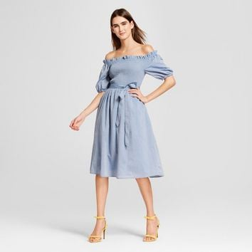 Women's Short Sleeve Smocked Dress- Who What Wear™ Chambray