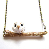 Barn Owl on a Branch Necklace