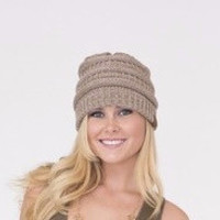 Tan Cable knitted Hat
