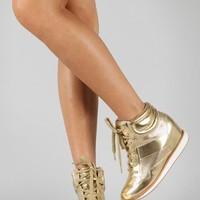 Qupid Patton-02 Metallic High Top Lace Up Wedge Sneaker