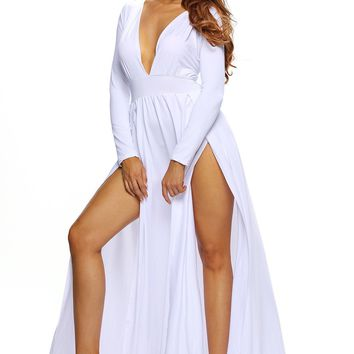 Chicloth White Super Classy Long Sleeves Double Slit Long Maxi Dress