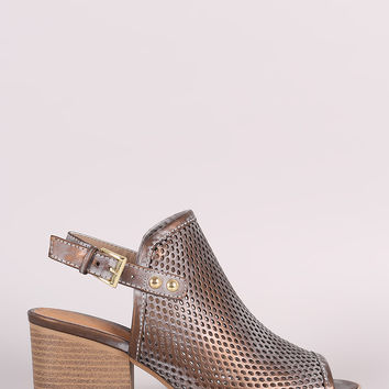 Qupid Perforated Metallic Burnished Slingback Mule Heel