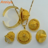 Anniyo Gold Color Ethiopian set Jewelry Bride Wedding Necklace Bangle Earring Ring Africa Eritrea Habesha Gift #000813
