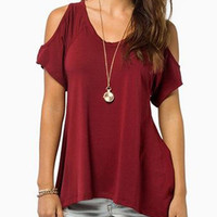 Red Shoulder Cutout V Neck Short Sleeve Asymmetric T-shirt