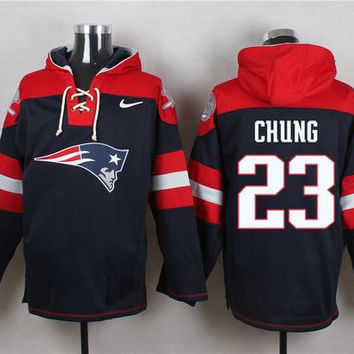 New England Patriots #23 Patrick Chung Navy Blue Pullover Hoodie