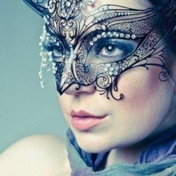 Gossip Girl Serena Masquerade Mask    Serena Van Der Woodsen Luxury Filigree Laser Cut Metal Masquerade Ball Mask