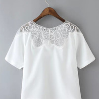 White Lace Neck Chiffon Top