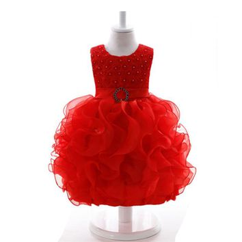 Toddler Girls Fancy Princess Tutu Dress 1 year birthday Flower tutu Baby Dress Red