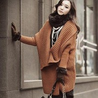 VENBE - Market Place - Brown Oversized Warm Sweater Brown Womens Coat Jacket Sweatshirt S M