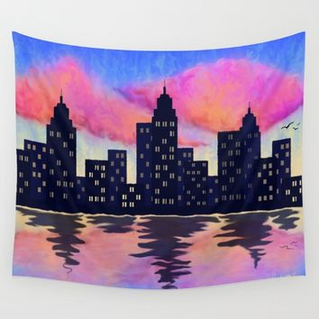 Sunset City Wall Tapestry by Mackenzie Lynn