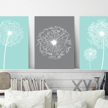DANDELION Wall Art, CANVAS or Prints, Aqua Gray Bedroom Wall Decor, Aqua Gray Bathroom Decor, Dorm Room Artwork, Home Decor Set of 3 Art
