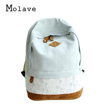 Cool Backpack school MOLAVE 2017 Fashion Lace Denim Women Canvas Backpack Schoolbag Girls Boys Backpacks Street Bags Rucksack Cool Daypack 0831 AT_52_3